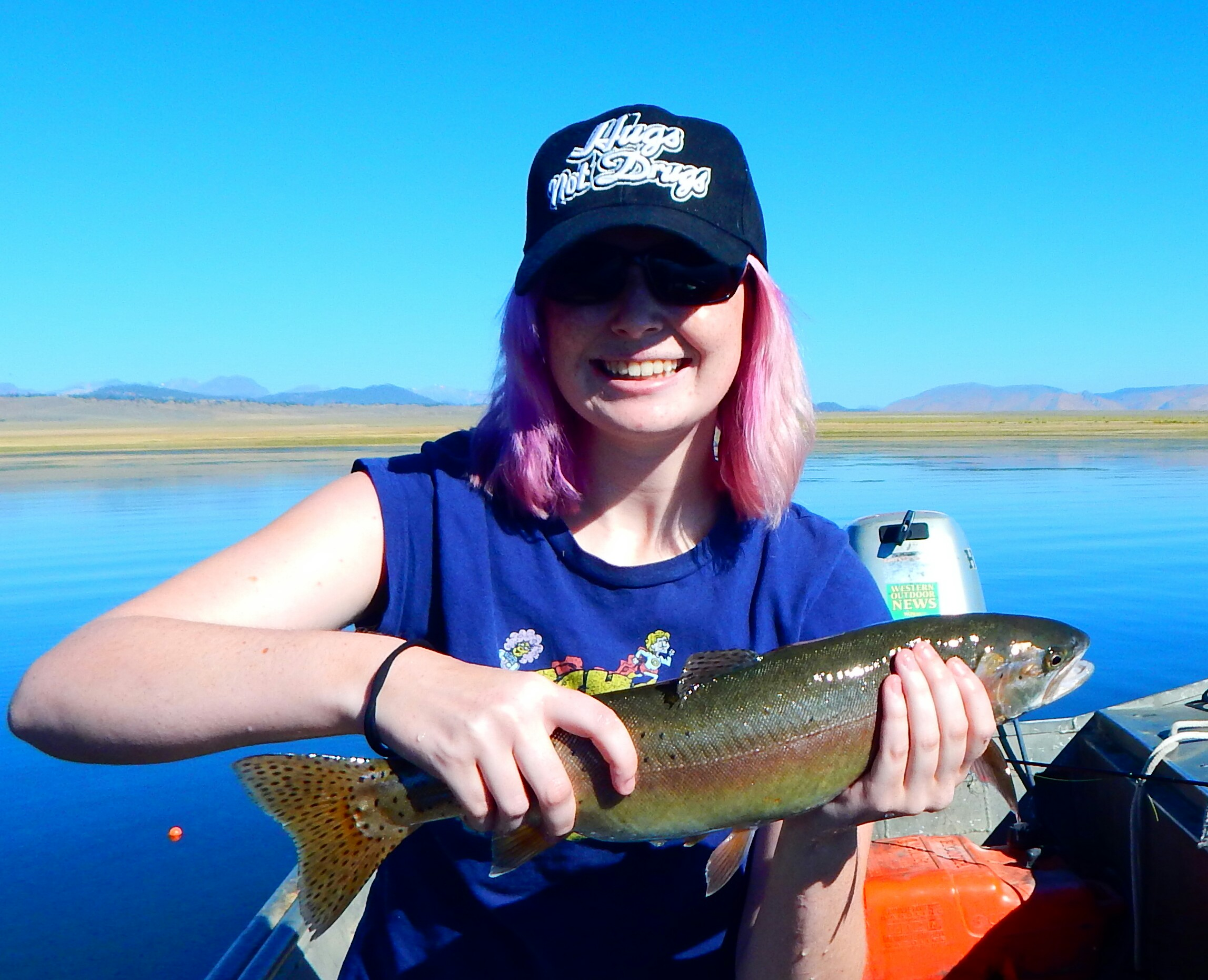 …and Savannah again this two summers ago at 17 years, out fishing dad on Lake Crowley.:)