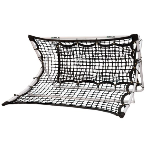 "FEATURES  To be the next David Beckham, your little kicker needs to practice their trapping, heading, passing, and one-touch skills and the X-RAMP 2-in-1 Soccer Trainer does just that. The steel X-frame has been designed to withstand unlimited pounding with ground stakes for extra stability. Each side of the trainer has two different types of netting for different skills training: one side features curved netting to return the ball in a ""looping"" manner, while the other has been designed for one-touch give & go training. The trainer easily folds down for easy storage and travel.    DOWNLOAD INSTRUCTION MANUAL   Dimensions: 44"" x 41"" x 25""  Steel X-frame construction  Ground stakes  Curved netting returns ball in a ""looping"" manner  Backside designed for one-touch give & go training  Easy fold for travel or storage  Note: soccer ball sold separately  Age 10+"