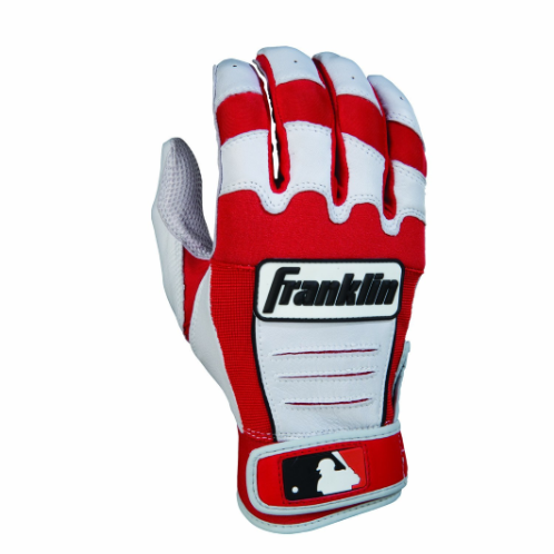 FEATURES  The Franklin CFX Pro Series Baseball Batting Gloves are worn by the most Franklin Pros in the majors today including stars like Dustin Pedroia, Edwin Encarnacion, Evan Longoria and Justin Upton. These major league gloves are designed to improve performance and increase grip on any bat in all weather conditions. Made with PITTARDS DIGITAL sheepskin leather the CFX Pro Series batting glove provide long-lasting softness and tactility. Find the perfect color to match your team's colors from our extensive collection of custom batting gloves.  Floating thumb technology increases glove flexibility and adaptability  Dual-layered lycra-flex bridge provides lightweight flexibility across the knuckle back and side-flex areas  Tectonic fit inserts accommodate flex without adding bulk to the back of the hand  PITTARDS® DIGITAL® sheepskin leather maintains softness and tactility in all conditions  QUAD-FLEX creasing decreases material buildup between your hand and the bat handle  One-piece leather palm maintains superior grip, and provides a smooth, seamless feel on any bat