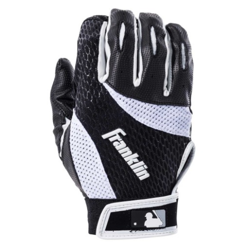 FEATURES  Franklin's 2nd-Skinz Baseball Batting Gloves feature a cool backhand design and are offered in a number of color patterns to match your team's uniforms or your individual personality. The digitally etched synthetic palm provides a superior grip on the bat for you to rip line drives into the gaps and edge your team to victory. The 2nd-Skinz design also features a leather heel patch for extra durability when making contact on the knob of the bat so you'll remain comfortable no matter the situation at the plate.   Digital technology featuring top grade, digitally-etched synthetic PU palm  Top grade genuine leather heel patch to ensure durability  Tri-Curve® technology provides for a perfect fit  Centralized lycra-flex hand back allows this glove to adapt to all players' needs
