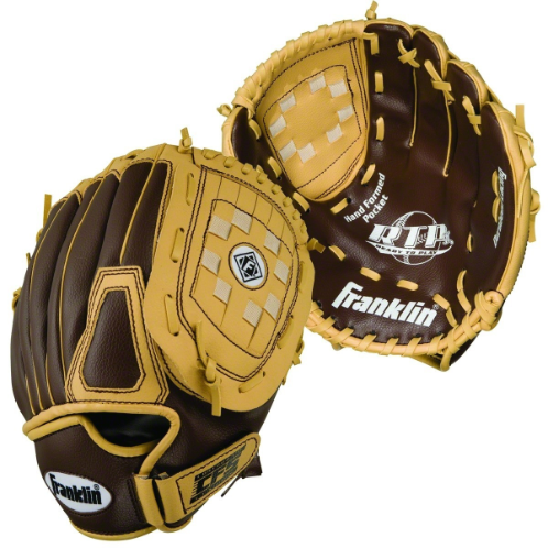 FEATURES  Franklin's RTP (Ready-To-Play) Performance Tee-ball Gloves are available in unique color schemes for boys and girls. Both offer the lightest and most comfortable glove feel for any beginner learning the fundamentals of America's pastime. These tee-ball gloves are made with RTP II construction allowing for a seamless transition from the box to the playing field - no break-in required. Outfit the young tee-baller in your family with the finest glove for unmatched comfort and support in the field.  Lightest and most comfortable glove for any beginner  RTP II construction  No Break In Required