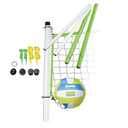 "FEATURES  Franklin's Intermediate Volleyball Equipment is perfect to set up in your backyard, at the cabin or in a neighborhood park for your next family party or company picnic. The intermediate set includes everything you need to set up a sturdy net to enjoy hours of volleyball fun. The telescoping poles allow the net to be set at 3 playing heights accommodating younger players as well as competitive play. The net easily breaks down and can be stored and transported in a convenient carrying bag.    DOWNLOAD INSTRUCTION MANUAL   Volleyball: Official size cloth volleyball with mini pump & needle  Poles: 1.25"" diameter telescoping octagon, virgin PVC poles with scoring system, 3 playing heights (84"", 72"", 66"")  Net: 20' x 1.5' x 4""  Tape: 3 sided tape construction  Stakes: (6) ground stakes  Package: Traditional carry bag  Ages 6+"