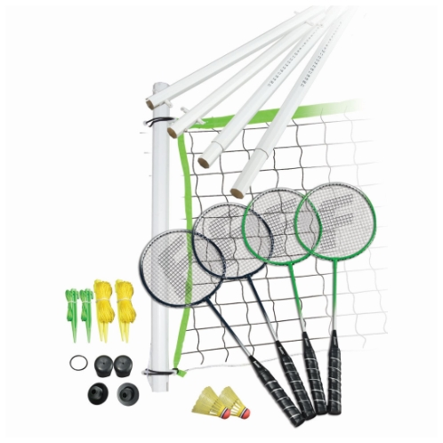 "FEATURES  Franklin's Intermediate Badminton equipment is easy to set up wherever you are - the lake, a neighborhood park or your backyard. Badminton is a fun outdoor game played between two people or teams of two. Franklin's Intermediate Badminton set is perfect for family parties - organize a tournament and you'll enjoy all day family fun. The set also includes a carrying bag making it easy to keep all the net hardware organized and secure when not in use.     Poles: 1.25"" diameter octagon, virgin PVC with 60"" assembled height and scoring system  Net: 20' x 1.5' x 1.5""  Rackets: 4 metallic ""Tightstring"" stringing, ""soft-touch"" padded grip, tempered steel shaft  Racket String: Hy-sheep  Shuttlecocks: (2) A-grade shuttlecocks  Tape: 3 sided tape construction  Stakes: (6) ground stakes  Traditional carry bag   DOWNLOAD INSTRUCTION MANUAL"
