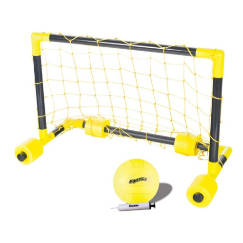 "FEATURES  Franklin's Aquaticz Water Polo is the perfect addition to anyone's outdoor game assortment. The strategically positioned EVA foam floats stabilize the goal, even during the most competitive games. Grab your set today and get in the water!     (1) Water Polo goal with superior netting  Play on land or play in water!  (1) 5"" Rubber ball with engraved edging for maximum grip  (4) Floats keep target stable  Goal Size: 24.8"" x 13"" 15.5""  Ages 8+"