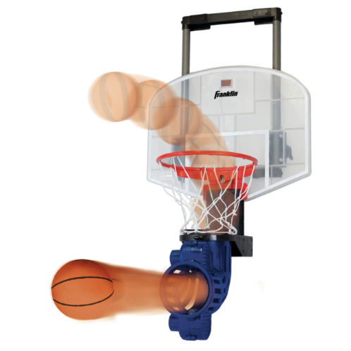 FEATURES  Become a free throw pro with Franklin's Shoot Again Basketball Set. Whether it's a bedroom or office, this mini hoop instantly turns any room into a basketball court. The height adjusts to accommodate different players while the ball return manually rotates 180° so that you can take shots from all angles and court positions, creating an authentic game experience. Play with a friend or practice your shooting while the electronic scoring and time clock tracks your game.   DOWNLOAD INSTRUCTION MANUAL   Size: 28 inches x 17 inches x 13 inches  Authentic basketball with automatic ball feeding system  Improve your game with repetitive shooting action  Electronic scoring and time clock  Authentic announcer sounds  Ball return manually rotates 180 degrees to take shots from all positions on the court  Includes 1 foam basketball  Requires 4 C size alkaline batteries (not included)  Fits most doors  Fun for ages 7+