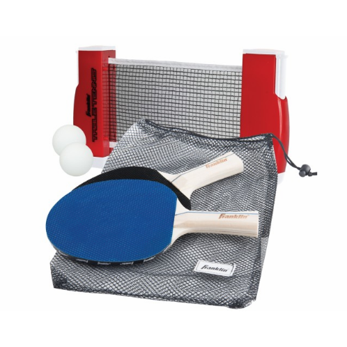 """FEATURES  Compact design makes it easy to store and take away  Versatile-attaches to any surface area or table top measuring up to 60"""" wide and 1.75"""" thick  Includes expandable/retractable net with post, 2 paddles, 2 balls, and mesh carry bag  Sets up in seconds  Opens up to 6' wide!  Ages 6+"""