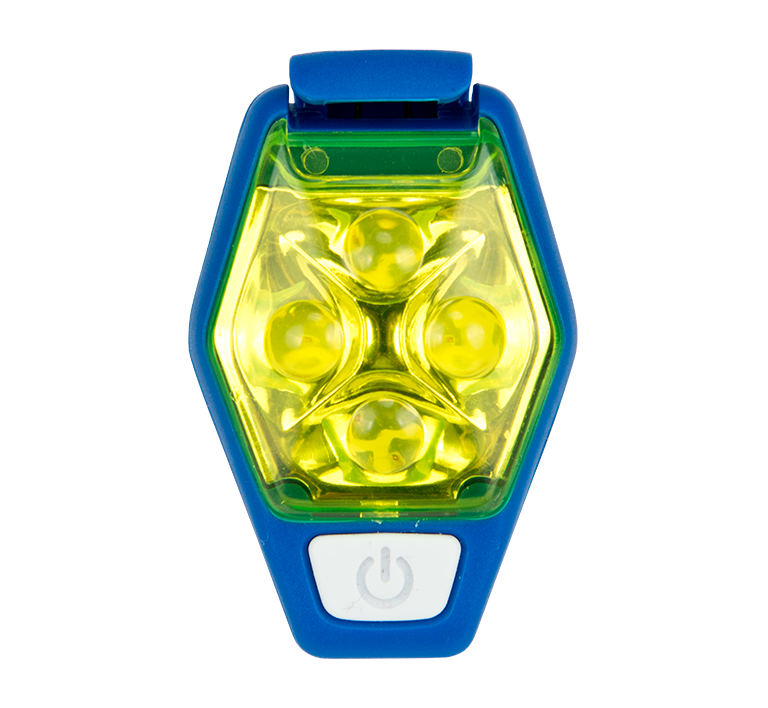 Features & Benefits  Small, but mighty! NATHAN's smallest and most powerful LED strobe clips anywhere so you can be seen everywhere. Varying LED intensities provide a high degree of visibility and combine the power of high Lumens with a low profile for enhanced safety.  Specs  LED: 4 LEDs – 16 max Lumens  Battery: 2 x 3V Lithium 2032 – Replaceable Coin Style Battery  Burn Time: STEADY ON = 4+ hrs; STROBE = 6+ hrs; ALTERNATING = 12+ hrs, CHAIN = 30+ hrs  Water Resistance: IPX4 – Weather resistant   HyperBrite StrobeTM LED Usage Instructions - Download the PDF