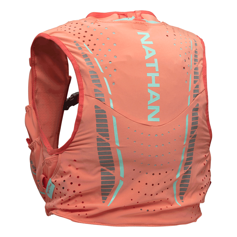 Features & Benefits  Designed with the demanding specifications of speedy champion ultra runner, Stephanie Howe, this lightweight runner's race vest is snug-fitting yet breathable, designed specifically to fit the female form, and features front hydration bottle pockets.  Apparel-like fit with a lightweight, breathable structure  Adjustable sternum straps attach for maximum flexibility and personalized comfort  Rear main pocket with internal bladder pocket is compatible with a 1.5L bladder  Multiple stash pockets for on-the-go access to essentials  Specs  Includes two 12oz ExoShot soft flasks, with extended straw tubes to easily sip fluids without removing flasks from the front pockets  Front storage for soft flasks, nutrition, smartphones sized up to iPhone 7 Plus, and other essentials  Storage Capacity: 244 cu in/4 Liters  Weight: 6.4 oz/181 g (without Soft Flasks); 10.4 oz/295 g (with Soft Flasks)