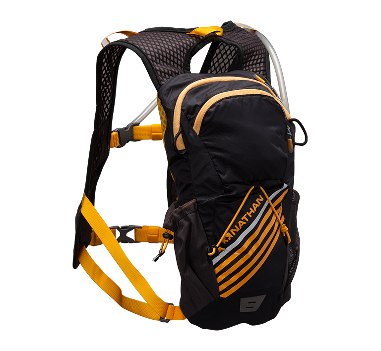 """Features & Benefits  A versatile, lightweight solution for both runners and cyclists to """"wear your water"""", with thoughtfully-placed, on-board storage for nutrition and key running essentials or bike tools. The ultimate crossover hydration pack!  Rear focused storage for ease of use on bikes  Slide-adjustable chest strap for perfect placement and bounce-free ride  Highly breathable wall mesh shoulder straps  Large side stretch mesh stash pockets hold bottles and gear  Helmet loops at upper side back of vest  Specs  Equipped with 2L bladder with quick-release valve  Organizer pocket with key ring clip inside upper back pocket  Front stash pockets with Velcro tab closure fits several gels  Rear external shock cord for increased capacity  Reflective trims  Rear strobe clip for safety  Storage Capacity: 335 cu in/5.5 Liters  Weight: 7.4 oz/210 g (Weight Includes Bladder)"""