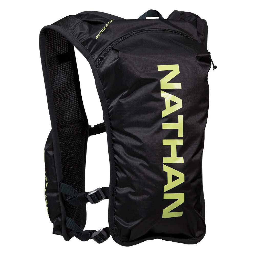 Features & Benefits  This 1.5 L hydration bladder vest provides a low-profile, minimalist way to comfortably wear your water and bring along other essential items on your journey.  1.5 L Hydration Bladder Included  Front Storage for nutrition and phone - fits up to iPhone 8 Plus  Main back zippered pocket for extra layers and other running essentials  Adjustable front and side straps for dialing in a perfect fit  Soft perimeter binding prevents chafing  Specs  Weight without Bladder: 5.5 oz/156 g  Weight with Bladder: 9.5 oz/269 g  Storage Capacity: 244 cu in/4 L