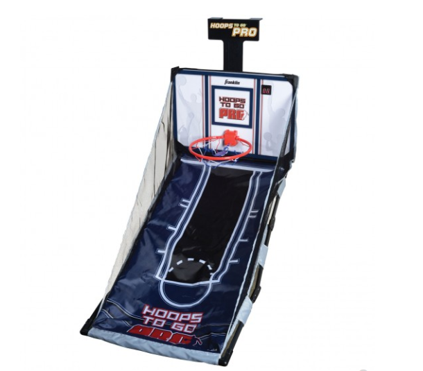 """FEATURES  Authentic style basketball rim  Electronic scoring and sounds  Trac-tech height adjustable door attachment fits most doors  Insta-Set design suspended ball return  Includes 2 basketballs, inflation pump and needle  Requires 3 """"AAA"""" size alkaline batteries (not included)  Ages 6+  Size: 34"""" x 18"""" x 12"""""""