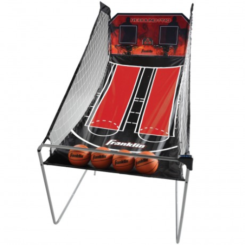 """FEATURES  Instantly boost the appeal of your entertainment room or basement with Franklin's Double Shot Rebound Pro pop-a-shot game. This classic basketball game poses players against each other in a duel for free-throw supremacy. The interactive scoreboard keeps track of points throughout the game, and the extra-large playing area matched with sturdy metal tubing is built for competitive play. Franklin's Double Shot Rebound Pro also features a folding design to make storage a breeze, and it includes four mini basketballs so you can set it up and play within minutes.    DOWNLOAD INSTRUCTION MANUAL   Dimensions: 81"""" x 43"""" x 80-1/2""""  7/8"""" steel tubing for maximum support  Extra-large playing surface  Folds away in seconds for convenient storage  8 different game options  Includes 4 basketballs  Uses 3 AA batteries (not included)"""