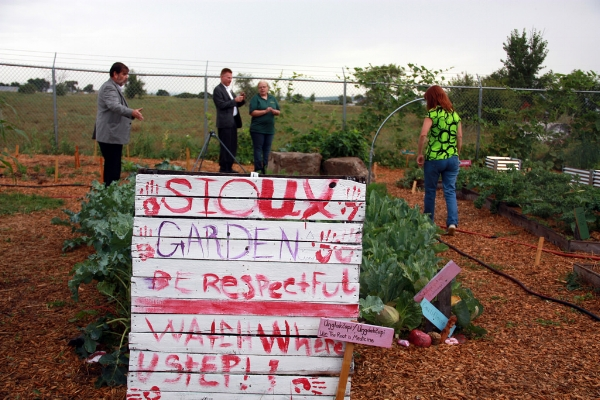 The Cannon Ball Elementary School Garden on the Standing Rock Sioux reservation in North Dakota in 2015.    Photograph taken by the US Dept of Agriculture   .