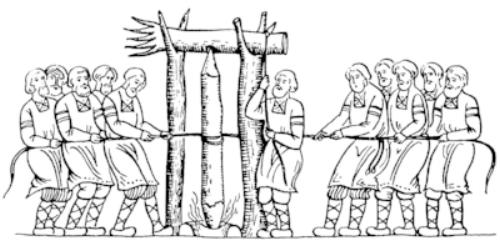 A drawing of the Force Fire (or Need Fire) method. Russian origin, date unknown. [https://en.wikipedia.org/wiki/Need-fire]