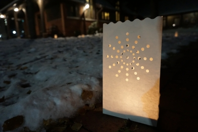 One of the luminaries lighting the path to our ceremony in Asheville, NC.