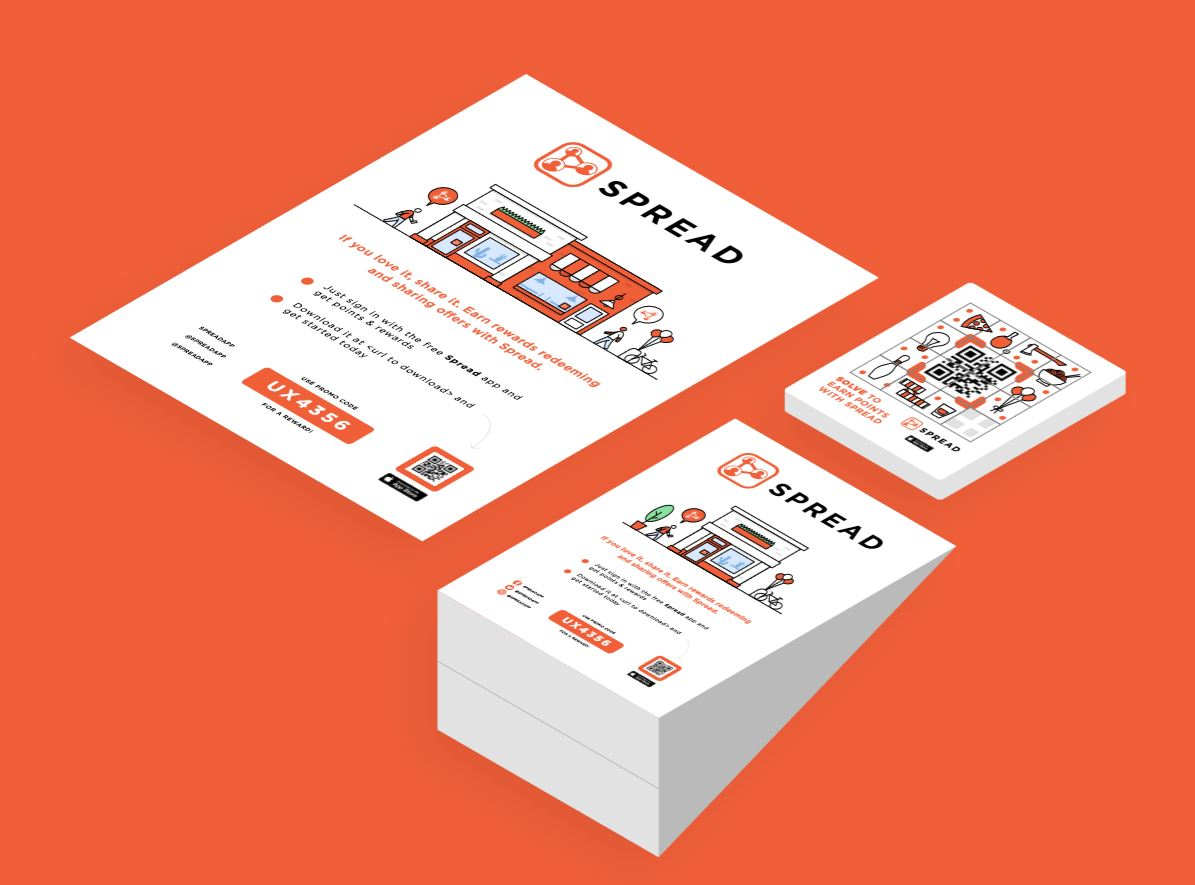 Spread - Spread is a digital loyalty program provider. Northpeak utilized human-centered design to provide brand collateral for the Spread mobile app.