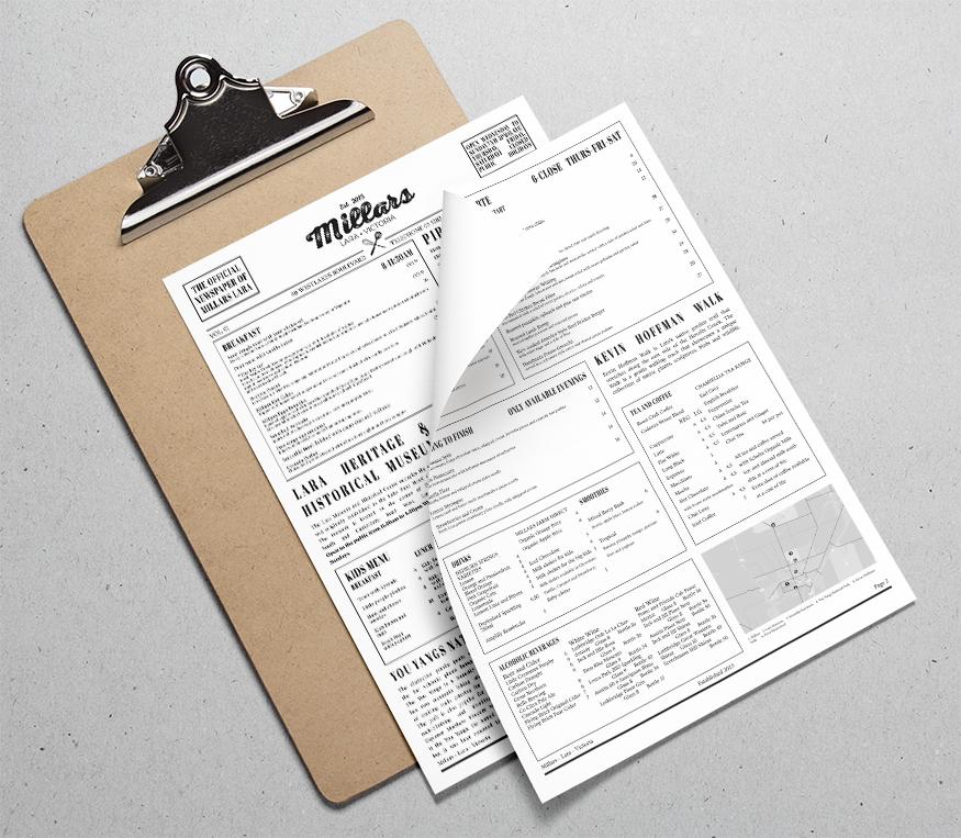 Millars Menu - Design and Print
