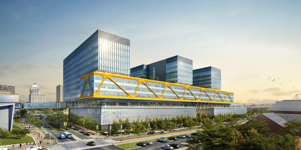 Artist's rendering of the new Caterpillar HQ planned for Downtown Peoria.