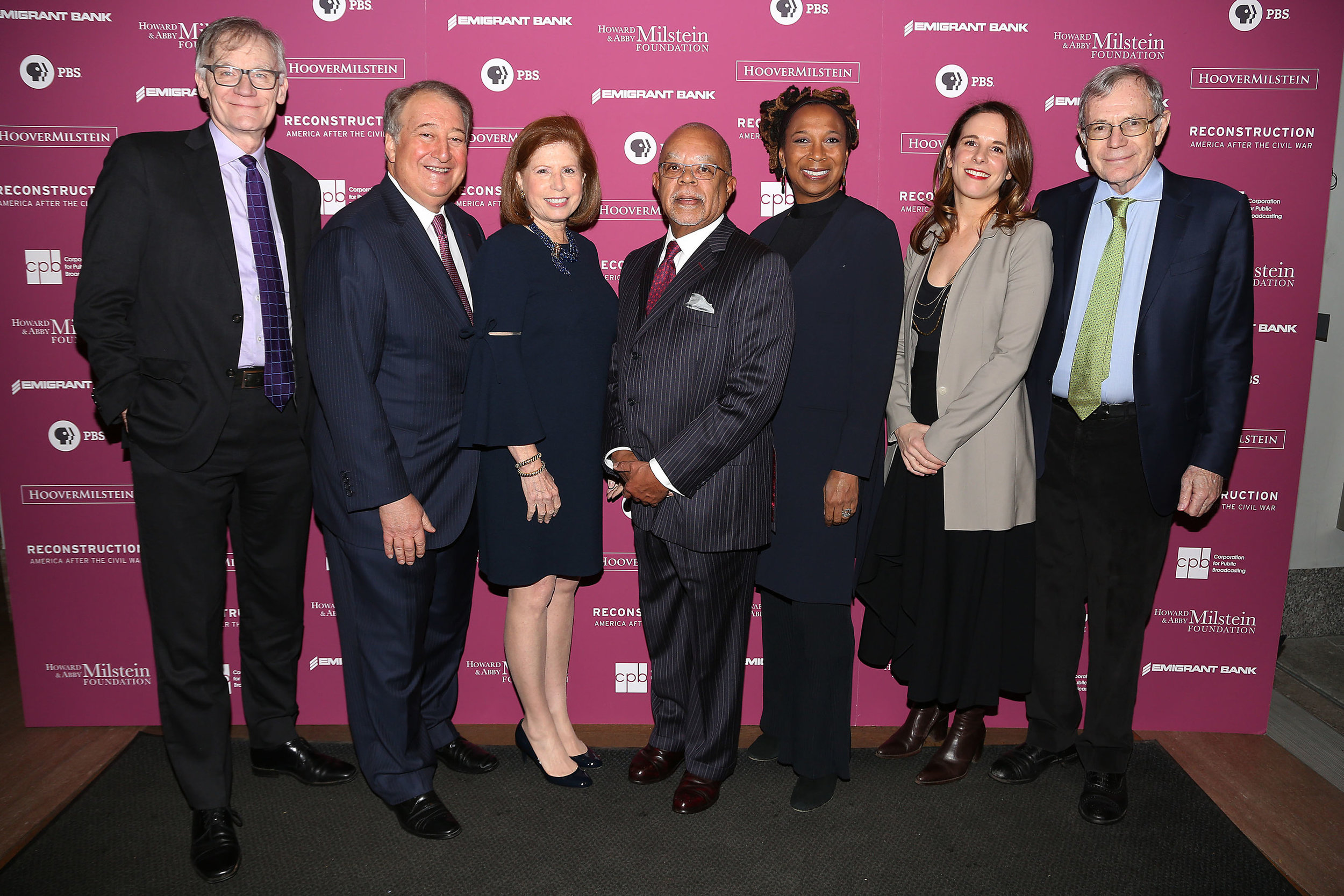 "Howard Milstein (second from left) celebrates the launch of Dr. Henry Louis Gates' new series, ""Reconstruction: America After the Civil War,"" with (l-r) Professor David Blight, Abby Milstein, Dr. Gates, Professor Kimberlé Crenshaw, Julia Marchesi and Professor Eric Foner. The launch event was held March 4, 2019, at the New-York Historical Society."