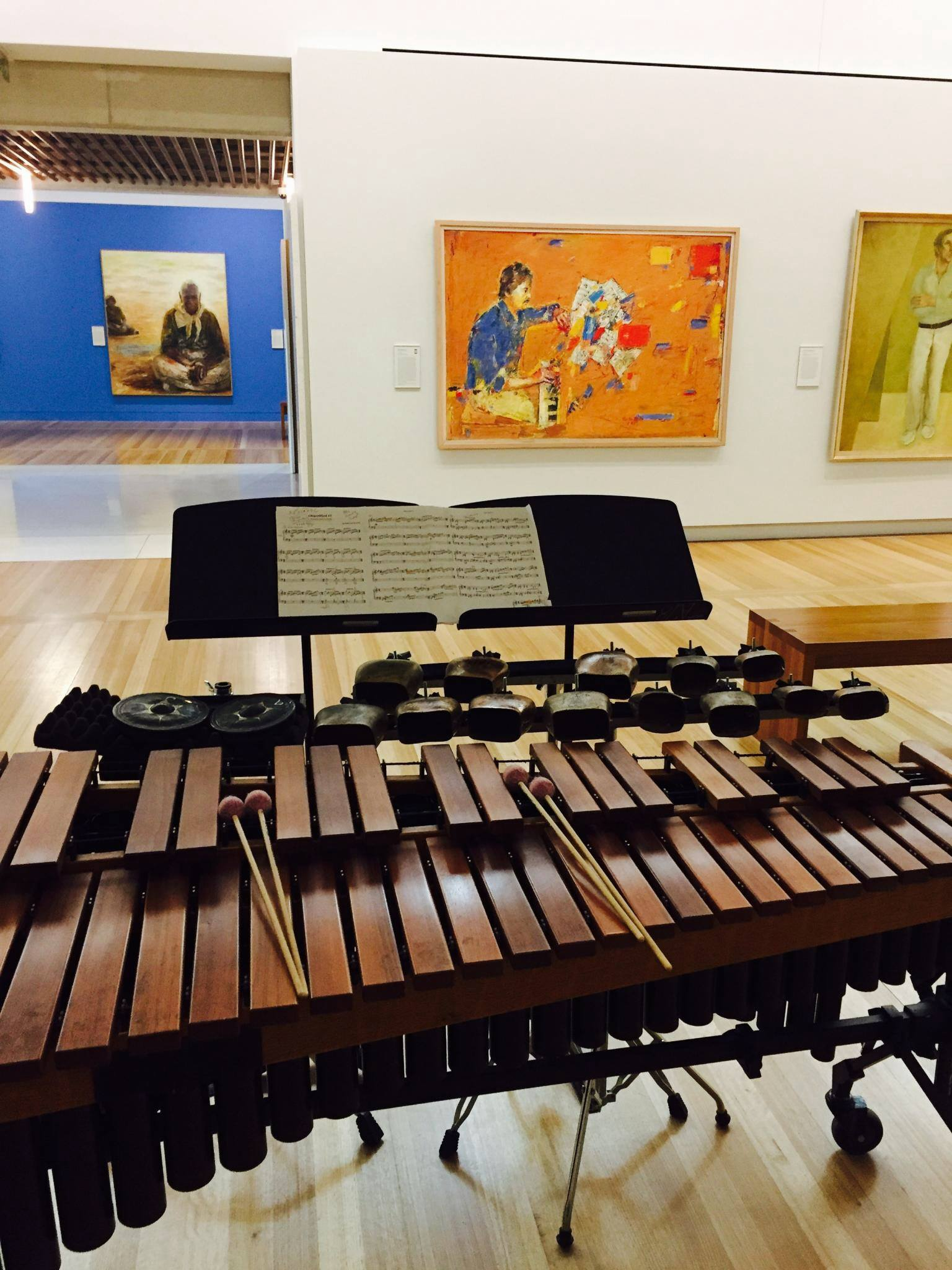 Marimba and Cowbells set up for Claire Edwardes' performance of Glocken Blocken' at the National Portrait Gallery, Canberra, 2017.