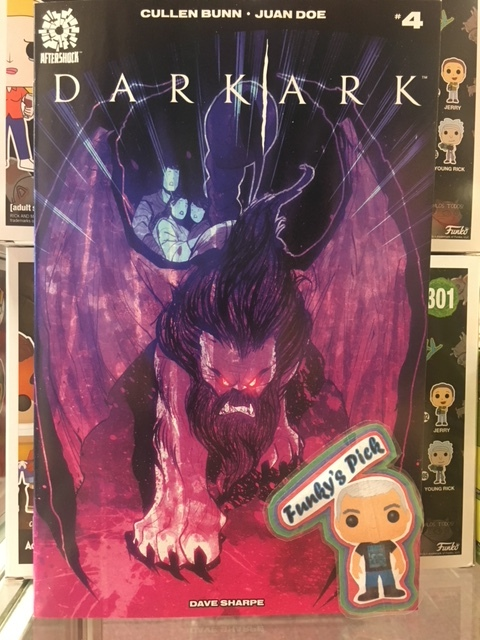Dark Ark #4 - Funky's PickShrae's Ark is in turmoil. What more would you expect upon a vessel populated by the worst monsters in all of creation. Now, however, the Ark has attracted the attention of powerful forces-vengeful angelic forces serving the will of the Lord. From writer Cullen Bunn (X-Men Blue, The Deadpool Killogy) and artist Juan Doe (World Reader) comes a sinister tale of biblical proportions that HAD to be told at AfterShock Comics.