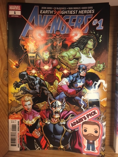 Avengers #1 - Adam's PickA NEW ERA DAWNS FOR EARTH'S MIGHTIEST HEROES! Courtesy of JASON AARON and ED McGUINNESS! Thor Odinson. Steve Rogers. Tony Stark. The Big Three of the Avengers are reunited at last! And just in time to save the world from total annihilation at the hands of their most powerful enemies yet: the 2000-foot-tall space gods known as Celestials. Behold the coming of the Final Host. Who will answer the call to assemble for a wild new era of Earth's Mightiest Heroes? Hint: one of them has a flaming skull for a head. And what strange, world-shaking connection exists between the Final Host and Odin's ancient band of Prehistoric Avengers?