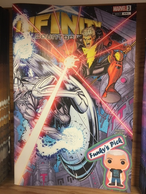 Infinity Countdown #3 (of 5) - Funky's PickAs the Guardians' last mission together draws to a close, the war for the Infinity Stones has only just begun! Adam Warlock continues to search for the Soul Stone but encounters an unexpected foe...the SILVER SURFER?! Keep your eyes to the stars as Marvel's biggest cosmic story continues!