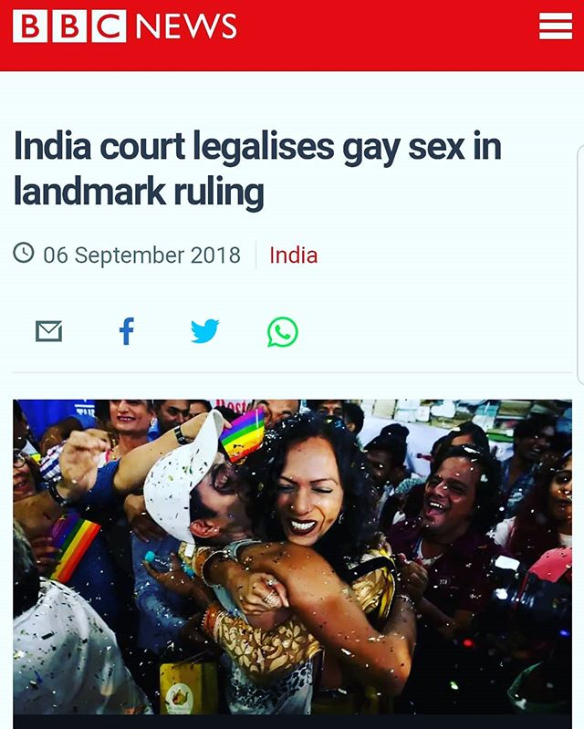 To my sister and friends in India - I am beyond happy for you and your country! Historic day for love and acceptance, and a huge step forward for human rights! 🇮🇳❤ #india #humanrights #loveislove #stepsforward #progress #itsallyoga