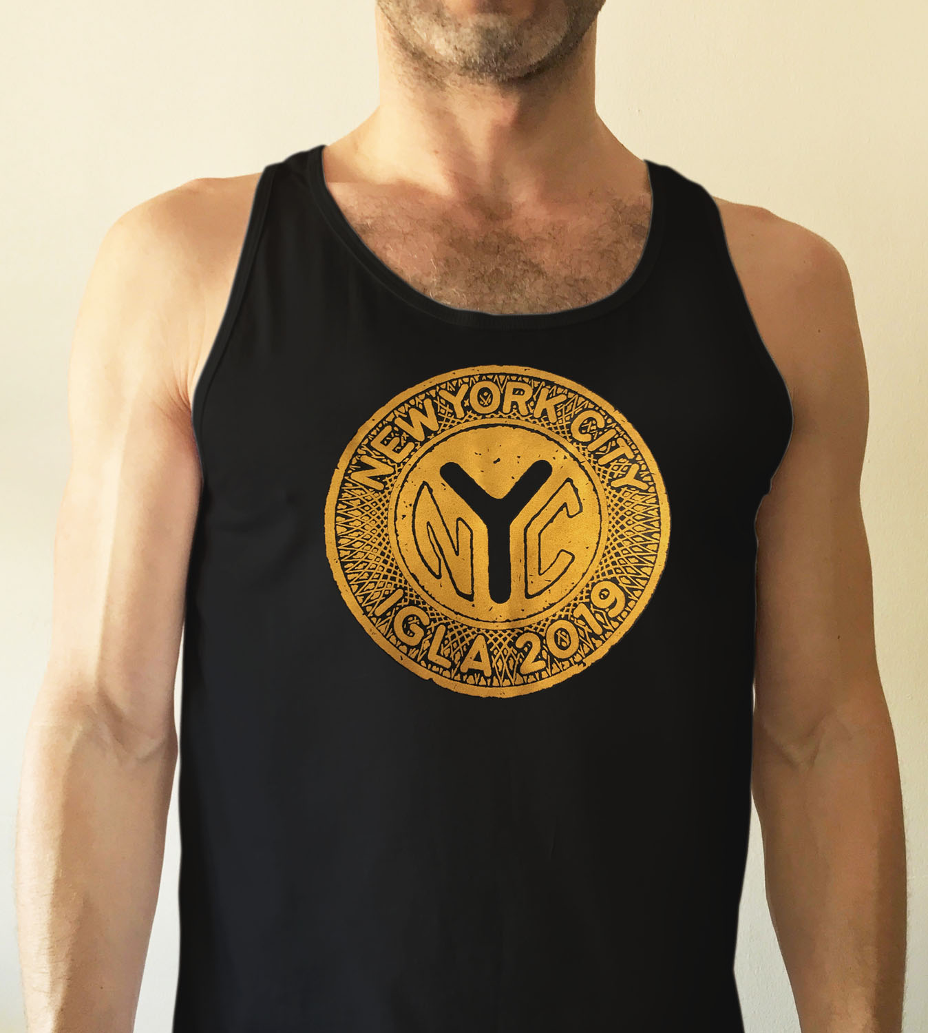 Unisex black fitted tank top with vintage metallic gold token  $16