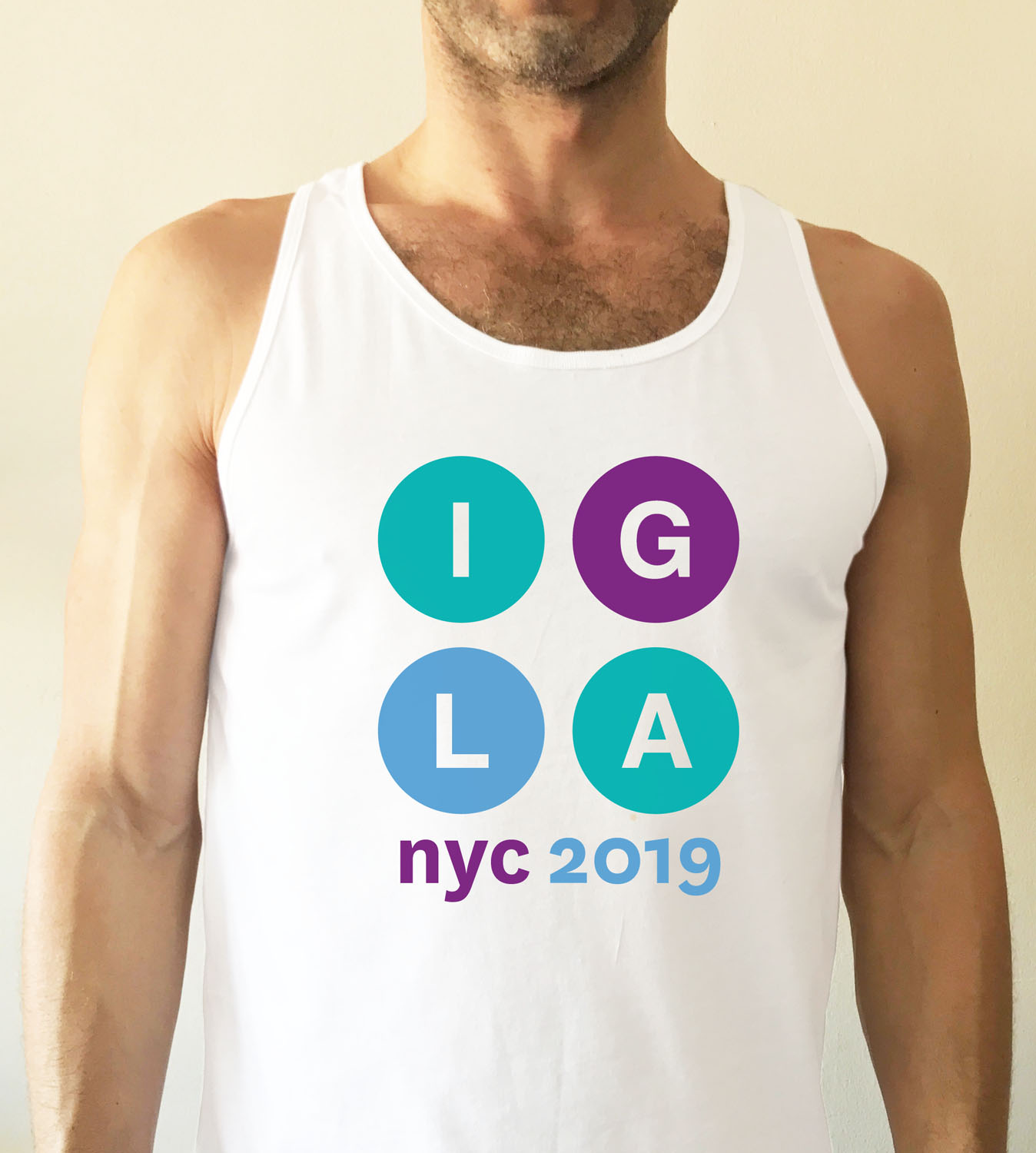 Unisex white fitted tank top with IGLA 2019 graphic  $14