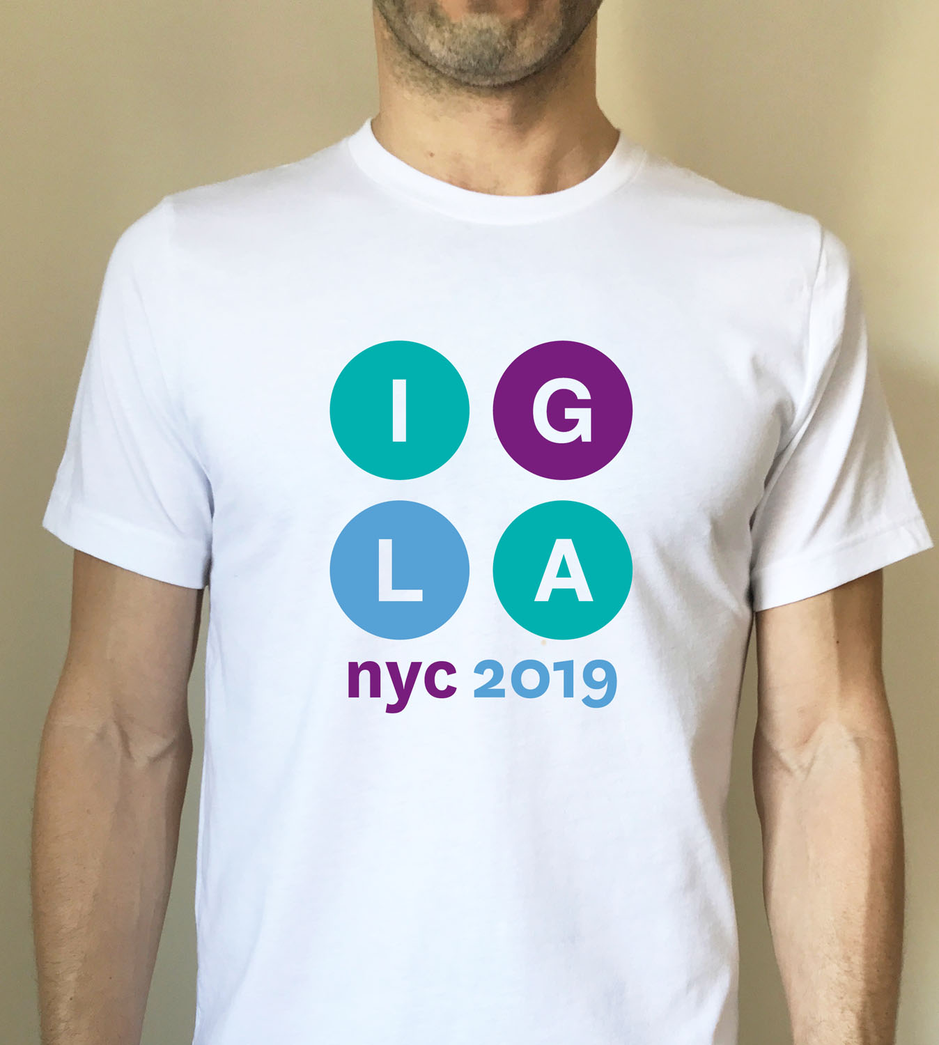 Men's white fitted t-shirt with IGLA 2019 graphic  $16