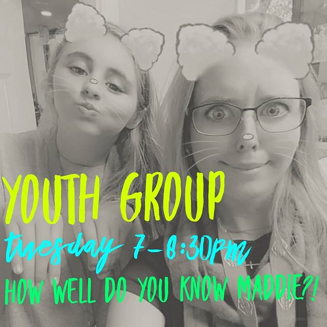 "Students! See you tomorrow night for youth group!! There may or may not be prizes for the person who does best at our ""How well do you know Maddie"" game!! #newhopecov #studentministry"