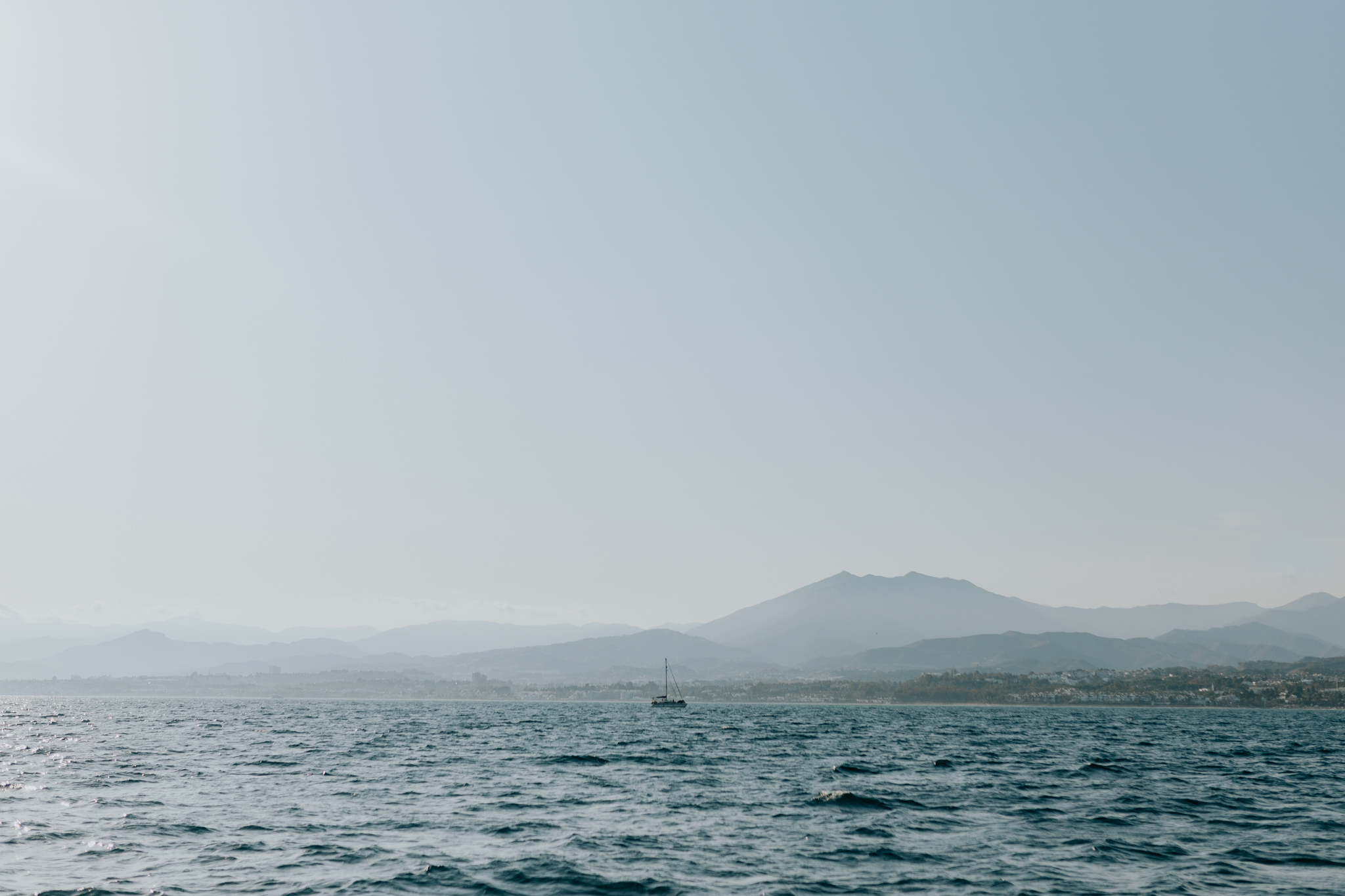 The gorgeous view from a sailboat off the coast of Marbella.