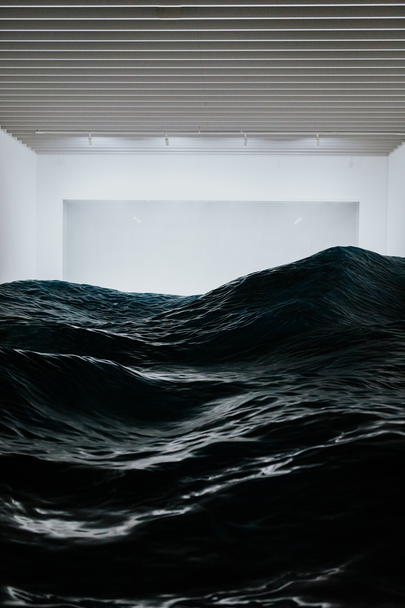 This dark and moody piece simulated waves of water as if they were moving.