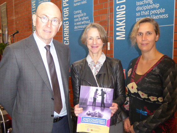 - The Commissioner for Children, Mark Morrissey, (left), Her Excellency, Professor the Honourable Kate Warner AM, the Governor of Tasmania and Professor Katreena Scott of the Caring Dads Program (Canada).
