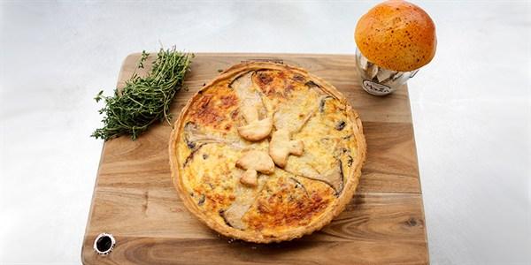 Porcini and mushroom quiche