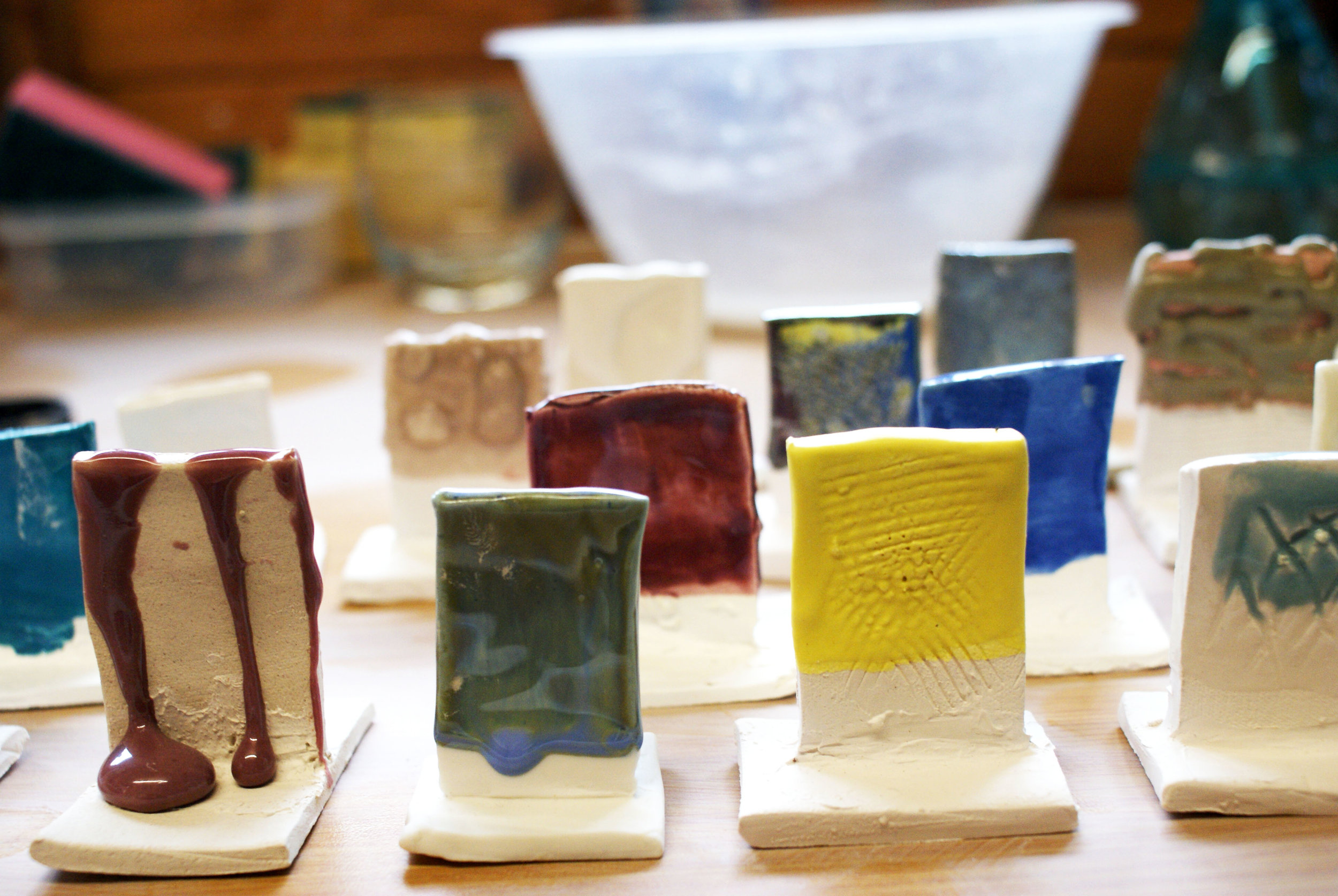ISOBEL HIGLEY'S RAW GLAZE WITH DIFFERENT ADDITIONS