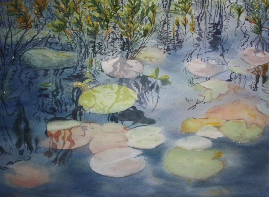 "WATERLILIES #1, watercolour 30"" x 20"" SOLD"