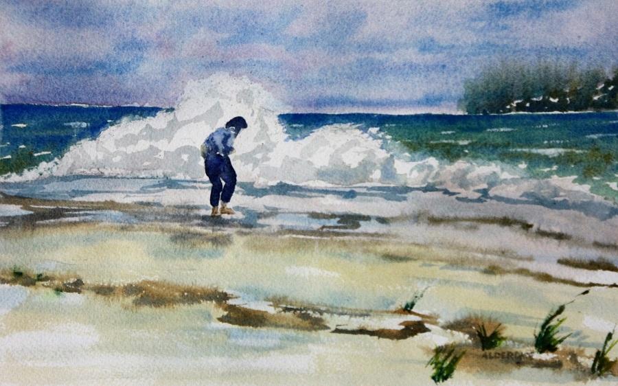 "ATLANTIC BEACH, watercolour, 10"" x 7"""
