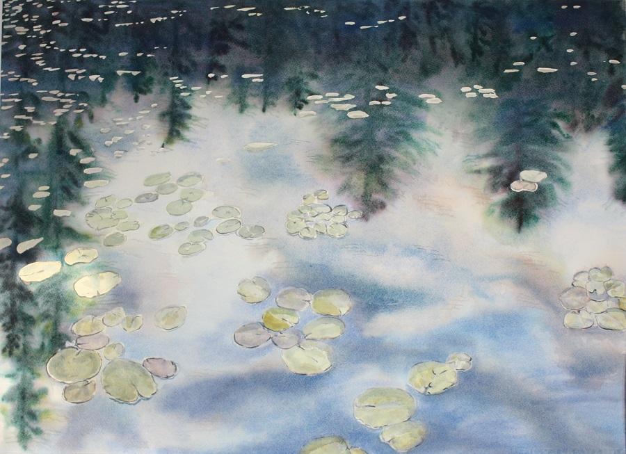 """WATERLILIES & REFLECTION #2, watercolour 30"""" X 20"""""""