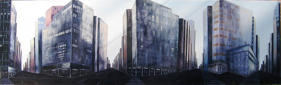 Cityscape in 360, Acrylic on canvas, 10' x 3'