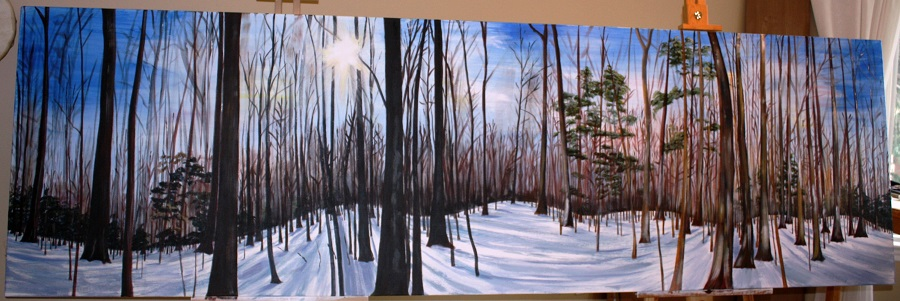 FORESTSCAPE 360, Acrylic on canvas, 10' x 3'