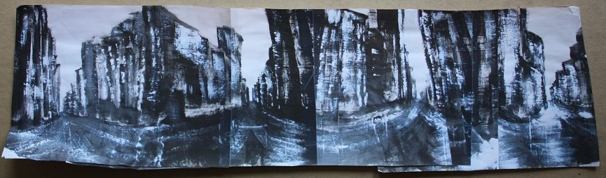 FINAL WORKUP in B&W, Acrylic on paper, 10' x 3'