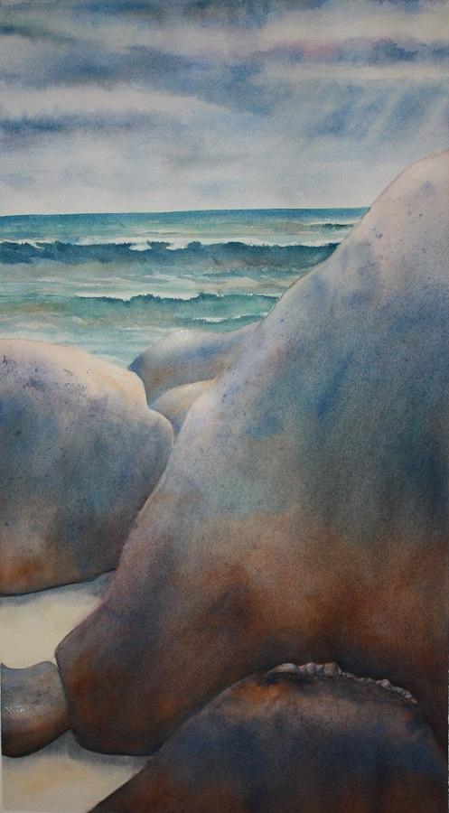 """BEACH ROCKS #1, Watercolour, 28"""" x 16"""""""