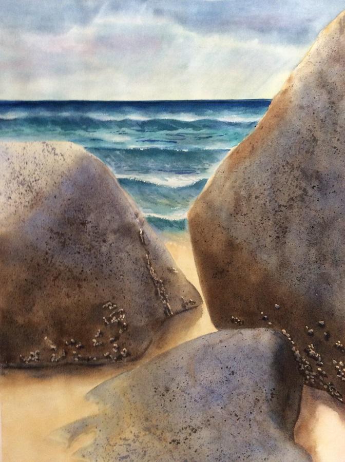 """BEACH ROCKS #2, Watercolour, 30"""" x 20"""" SOLD"""