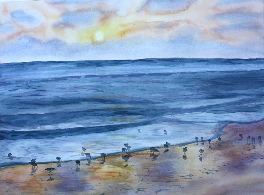 "BEACH SUNSET, Watercolour, 30"" x 20"""