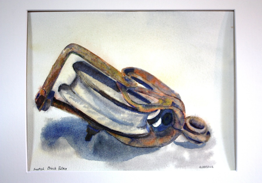 """SNATCH BLOCK PULLEY, Watercolour, 10"""" x 8"""""""