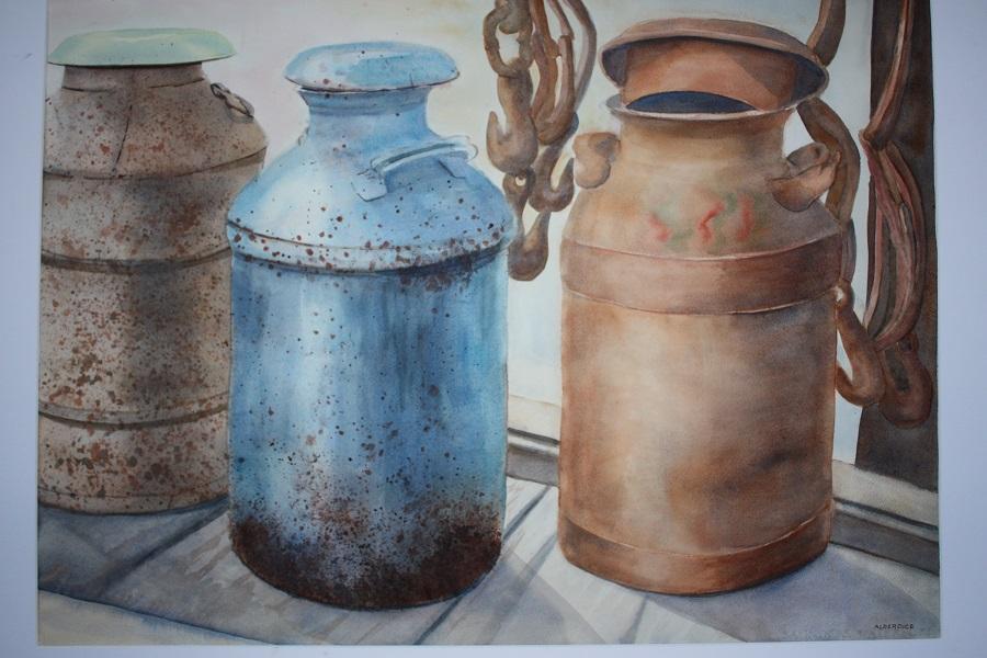 """ANTIQUE MILK CANS, Watercolour, 30"""" x 20"""" SOLD"""