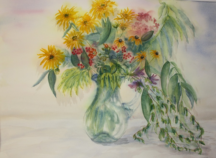 """STILL LIFE WITH GLASS VASE, Watercolour, 30"""" x 20"""""""