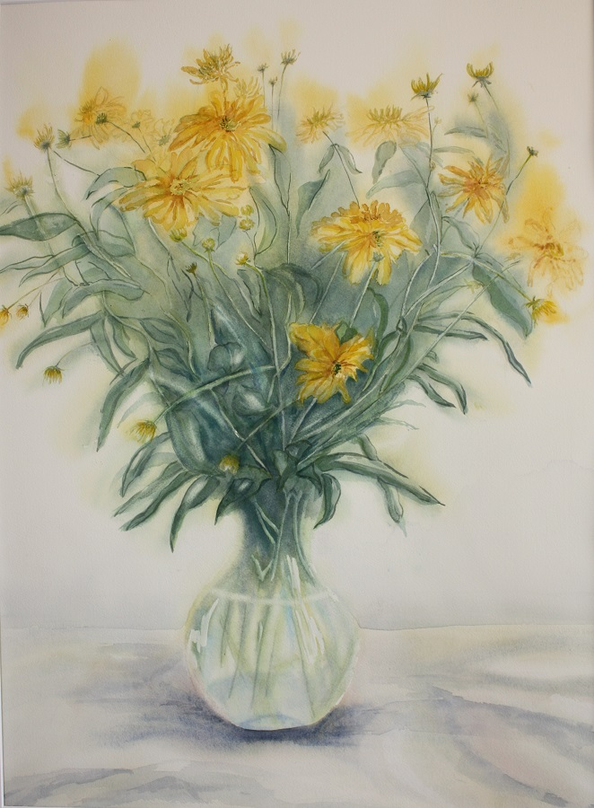 """STILL LIFE WITH YELLOW FLOWERS, Watercolour, 30"""" x 20"""" SOLD"""